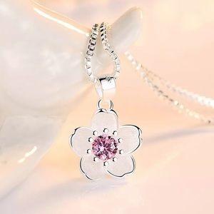 925 Sterling Silver Pink Flower Summer Necklace